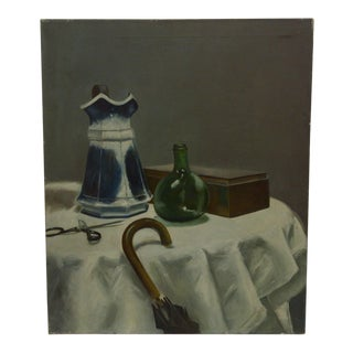 """20th Century Contemporary Original Framed Painting on Canvas, """"Crowded Table"""" by Frederick McDuff"""