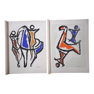 Vintage Mid 20th C. Ltd. Ed. Signed Silkscreen Prints-Abstract Equine Images-Marino Marini-A Pair For Sale