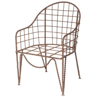 Rare Rene Prou Wrought Iron Chair For Sale