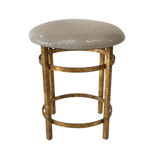 Mid-Century Modern Leather-Topped Gold Stool