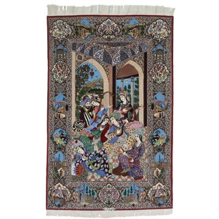 Silk and Wool Very Fine Hand Knotted Persian Esfahan Rug - 5′ × 8′ For Sale