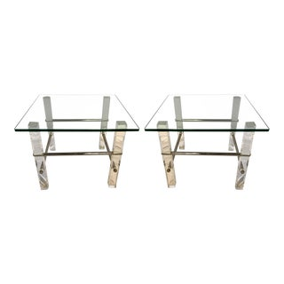 Pair of Mid-Century Modern Glass Lucite and Chrome End Tables, 1970s For Sale