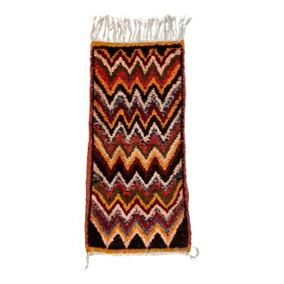 Vintage Missoni Style Moroccan Wool Throw Rug Multicolor ZigZag Red Orange Black For Sale