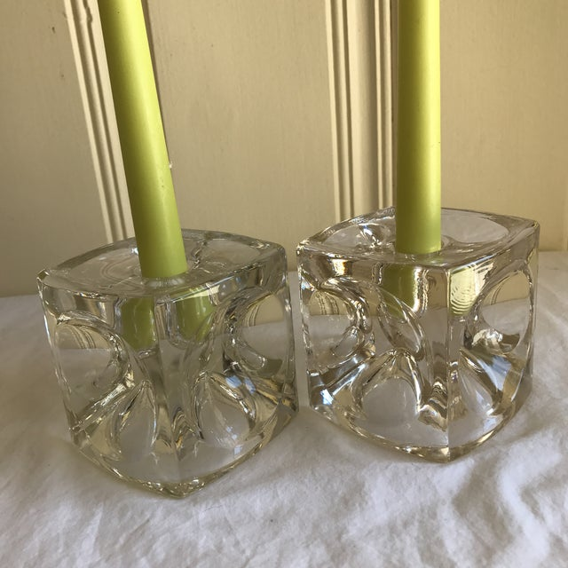 Artisan Geometric Glass Candle Holders - A Pair For Sale - Image 9 of 11