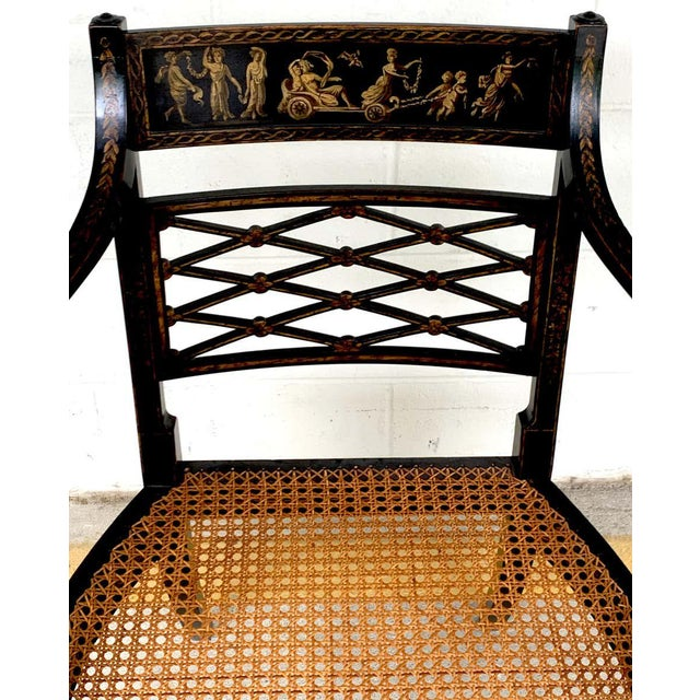 Regency Black and Polychrome Cane Seat Armchairs - a Pair For Sale - Image 4 of 10