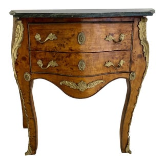 Louis XV Burlwood and Ormolu Two Drawer Commode With Marble Top For Sale