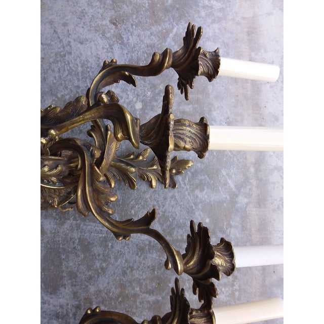 1900 - 1909 Antique French Bronze Wall Sconces - a Pair For Sale - Image 5 of 8