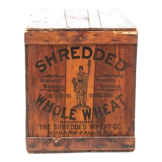 Early 20th Century Shredded Wheat Stamped Wooden Crate For Sale
