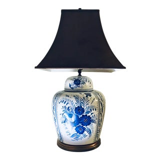 1970s Delft Blue and White Table Lamp For Sale
