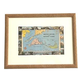 Vintage Nantucket Marthas Vineyard Large Postcard Framed For Sale