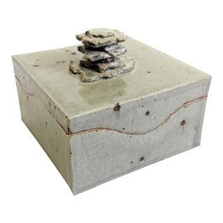 Vintage Square Studio Pottery Box For Sale
