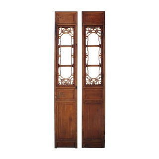 Vintage Chinese Window Opening Tall Wood Panel Screens - A Pair For Sale