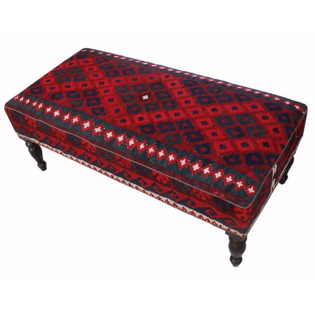 Doris Drk. Red/Red Handmade Kilim Upholstered Settee For Sale - Image 4 of 8