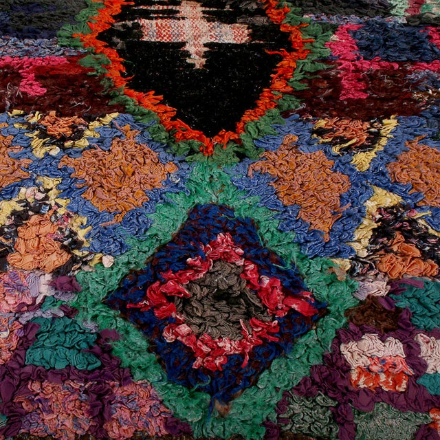 Tribal Vintage Moroccan Berber Geometric Red Blue and Black Fabric Tribal Rug For Sale - Image 3 of 6