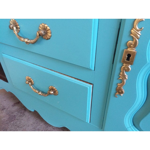 American Turquoise Chippendale Style Oak Hutch - Image 10 of 10