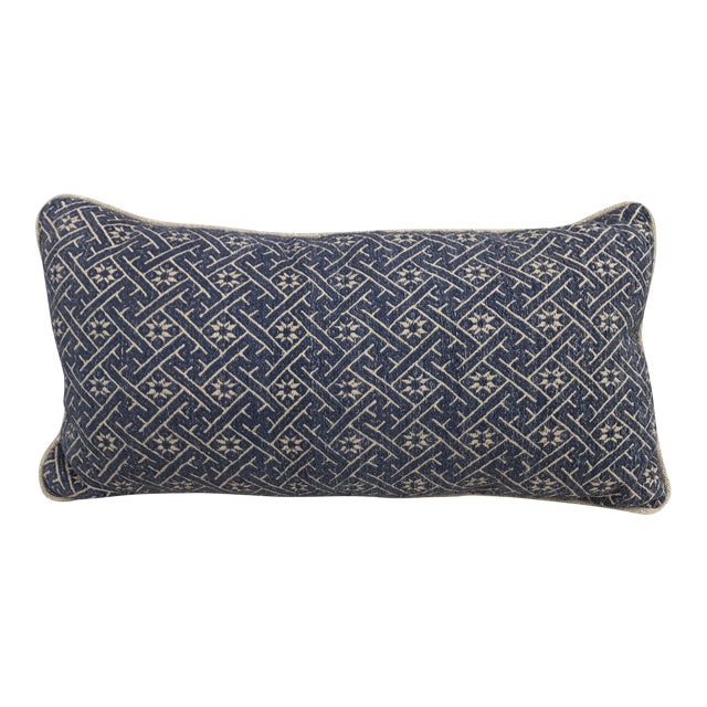 Woven Navy & Taupe Hmong Pillow - Image 1 of 4