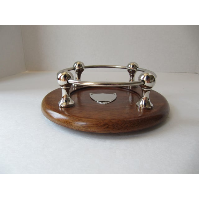 English Traditional Wood & Chrome Wine Coaster For Sale - Image 3 of 5
