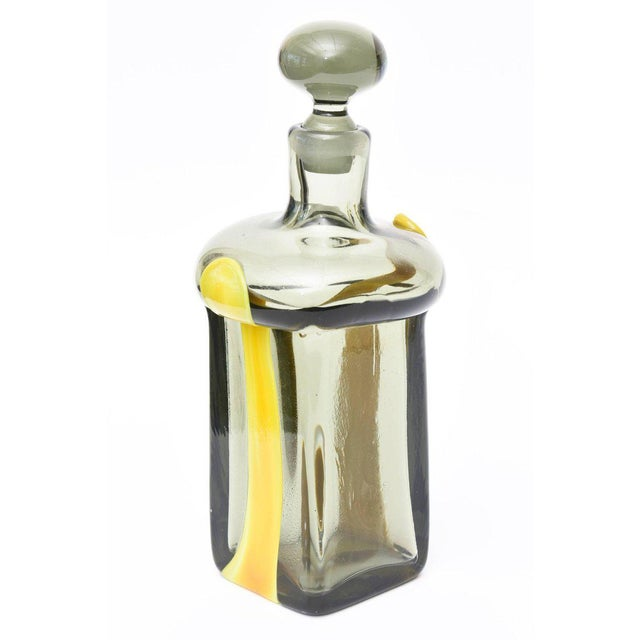 Glass Pierre Cardin for Venini Italian Smoked Gray and Yellow Glass Decanter/Barware For Sale - Image 7 of 11
