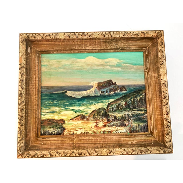 Framed Rocky Beach Seascape Oil Painting, Signed For Sale In Denver - Image 6 of 12