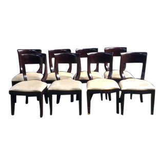 Curved Back Vintage Dining Chairs - Set of 8