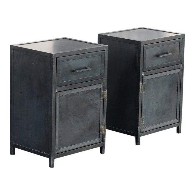 Pair of Custom Industrial Steel Nightstand Cabinets by Rehab Vintage, Made to Order For Sale