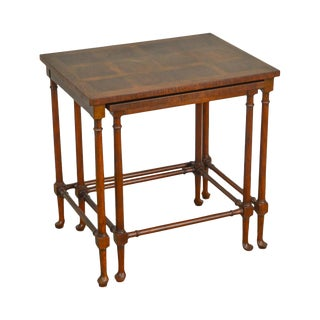 Baker Walnut Queen Anne Style Nesting Set of 2 Side Tables For Sale