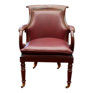 Hancock & Moore Burgundy Leather Arm Chair or Desk Chair For Sale