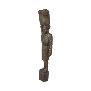 Haitian Vintage Hand Carved Wooden Folk Art Statue of Woman Holding Basket on Head For Sale