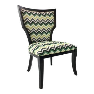 Currey and Co. Green Herringbone Garbo Side/Desk Chair For Sale