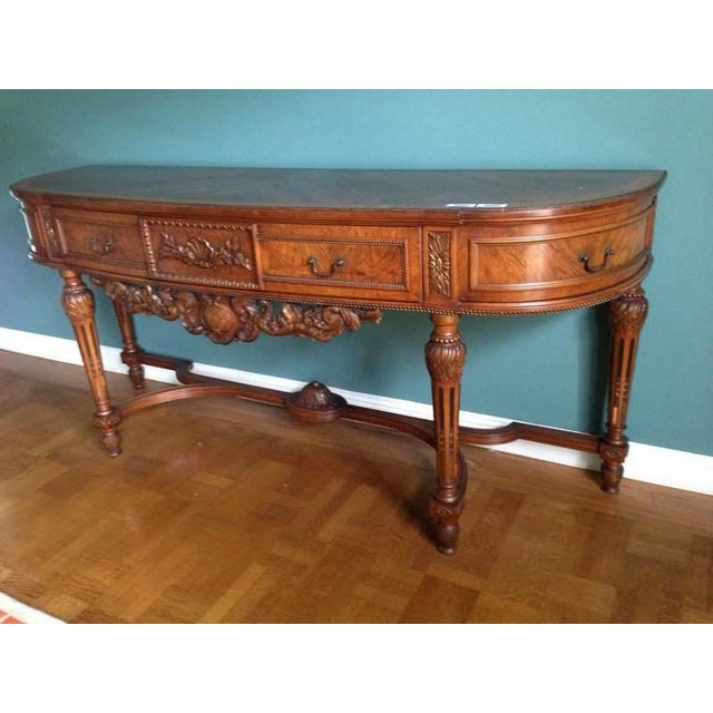 Queen Anne Style Walnut Veneered Console Table - Image 4 of 6