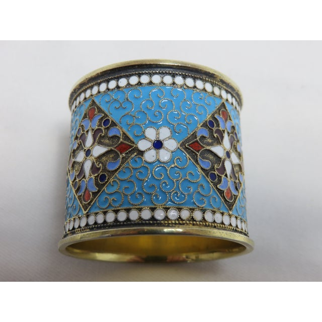 Fine quality handmade Russian silver napkin ring with multicolor French enamel decorations. Ivan Sergeyevich Lebedkin 84...