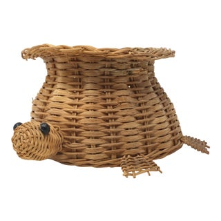 Vintage Wicker Turtle Basket For Sale