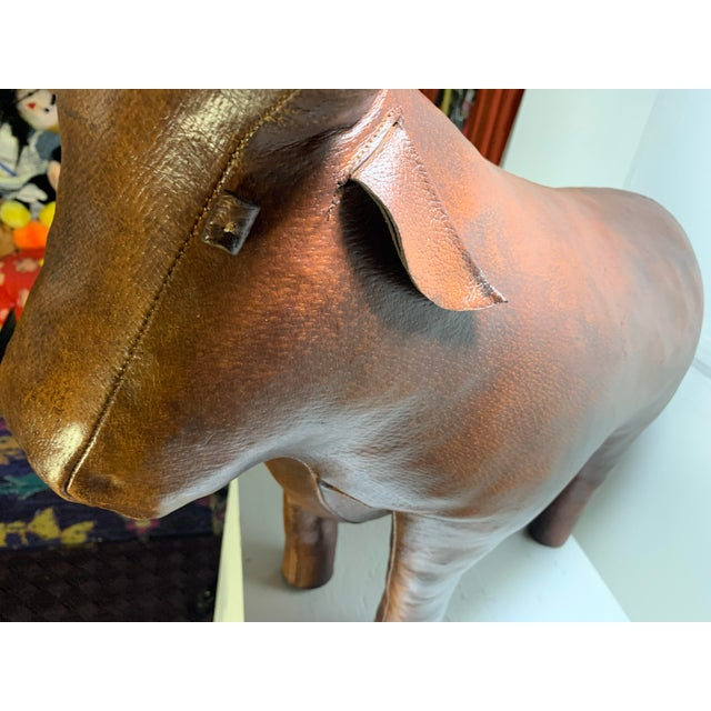 Brown 1960s Vintage Dimitri Omersa for Abercrombie and Fitch Bull Footstool For Sale - Image 8 of 13