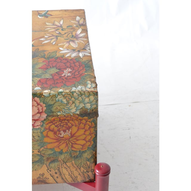 Leather Hand-Painted Chinese Trunk on Stand - Image 6 of 6