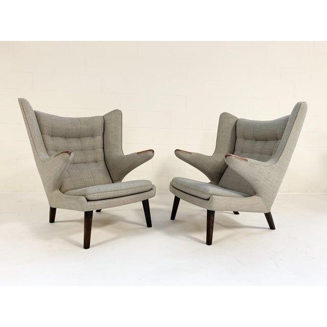 Mid-Century Modern Important Pair of Hans Wegner for a.p. Stolen Papa Bear Chairs With Ottomans For Sale - Image 3 of 13