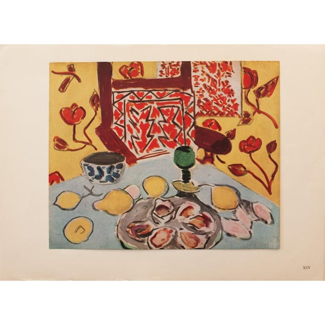 "Red 1946 Henri Matisse, ""Still Life on Blue Table"" Original Period Parisian Lithograph For Sale - Image 8 of 8"