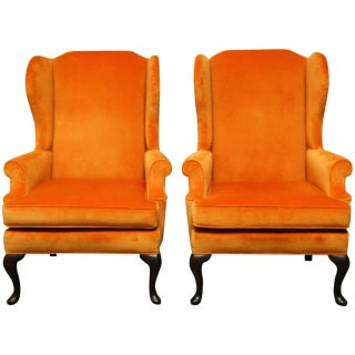 Queen Anne Style Orange Wingback Chairs - A Pair
