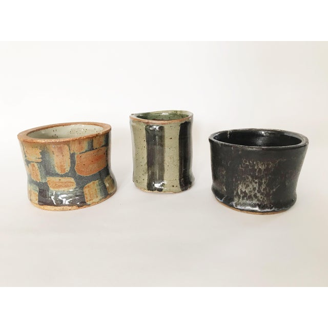 Late 20th Century Vintage Abstract Studio Pottery Vessels - Set of 3 For Sale - Image 5 of 5