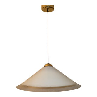 Vintage White Mid-Century Modern Murano Glass Pendant Lamp For Sale
