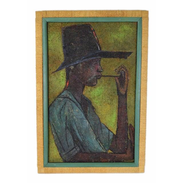 Green Vintage Mid-Century Man in Floppy Hat De Buren Haitian Oil Painting For Sale - Image 8 of 8