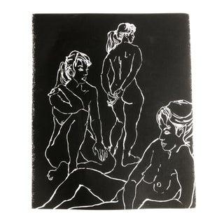 Original Vintage Female Nude Figures Lithograph For Sale