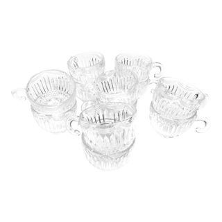 Vintage Mid Century 12 Piece Set of Glass Tea Cups / Punch Cups in the Royal Drape Design by Lancaster Glass Co. For Sale