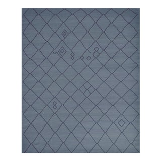 Contemporary Blue Handwoven Wool Moroccan Inspired Flatweave Rug For Sale