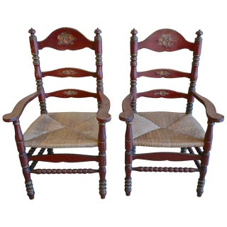 19th Century Portuguese Pine Hand-Carved Painted Ladder-Back Armchairs- A Pair For Sale