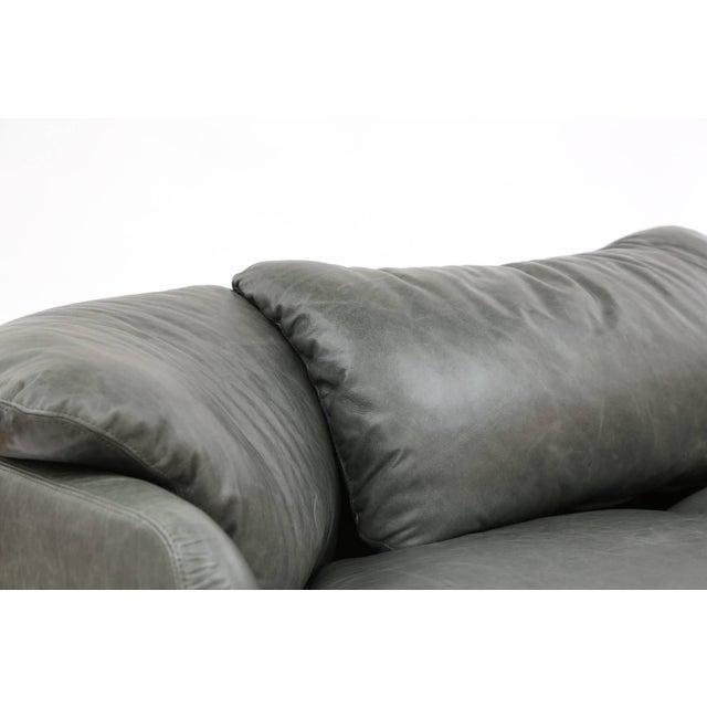 Animal Skin 1970s Alberto Rosselli for Saporiti Leather Sofa For Sale - Image 7 of 8