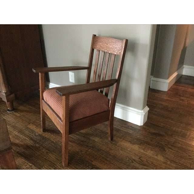 Mission Oak Chair & Walnut Footstool - Image 4 of 4
