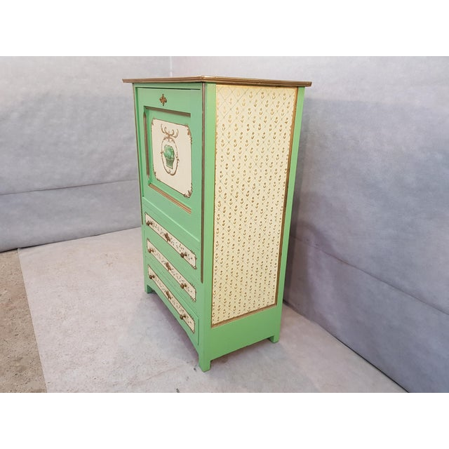 French French Antique Early 1920s Handpainted Gilted Imperial Style Charming Secretaire Credenza For Sale - Image 3 of 13