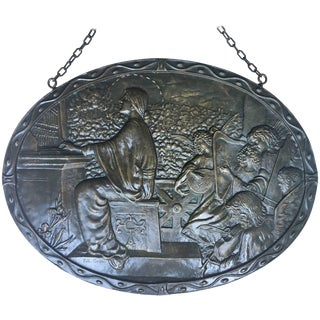 19th Century Relief Bronze Masterpiece With Cherubs in a Barrel-Organ For Sale