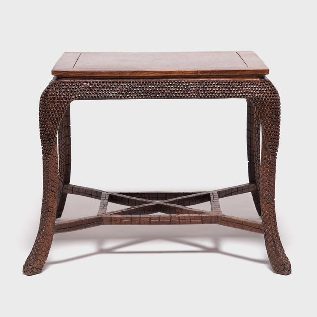 Early 20th Century Early 20th Century Dragon Scale Tea Table and Stools For Sale - Image 5 of 11