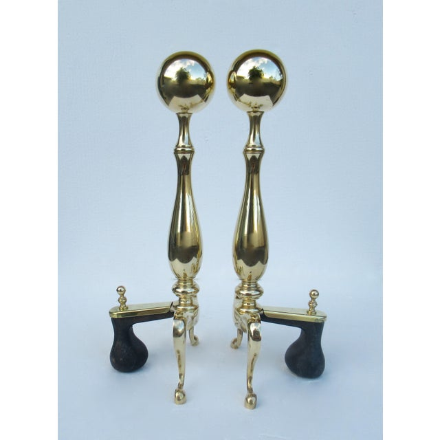 1970s C1970s Vintage American Regency Brass Claw-Footed Andirons - a Pair For Sale - Image 5 of 13